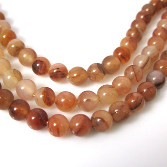 Peach Aventurine - Natural Stone - Smooth Round Beads 6mm (sold per strand)