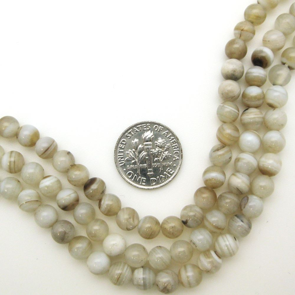 Stripe Agate Beads - Smooth Round 6mm (Sold Per Strand)