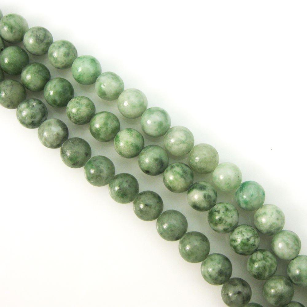 China Green Jade, Round Gemstone Beads, Smooth Surface, 8mm (Sold Per Strand)