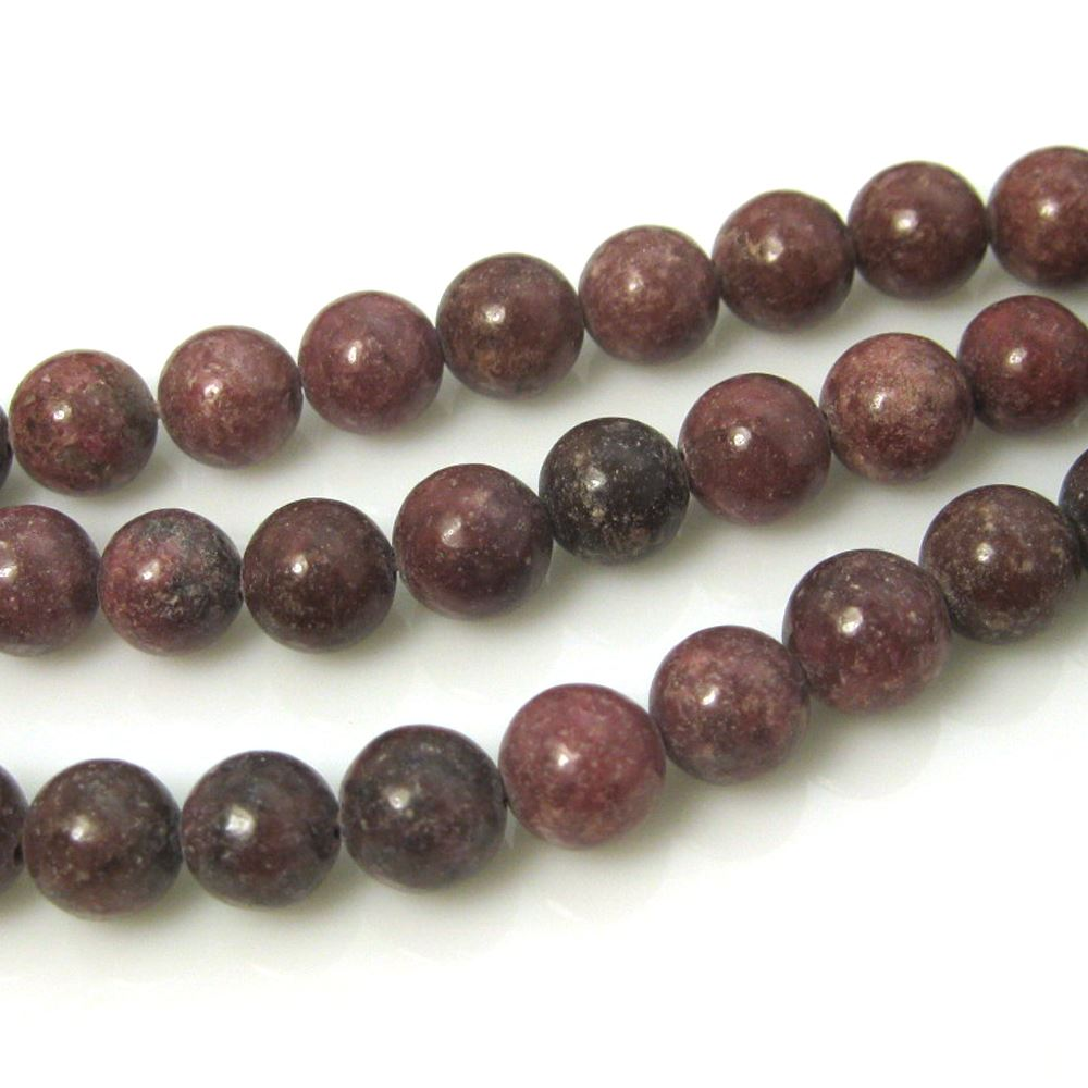Rhodonite - Smooth Round Beads - 8mm (sold per strand)