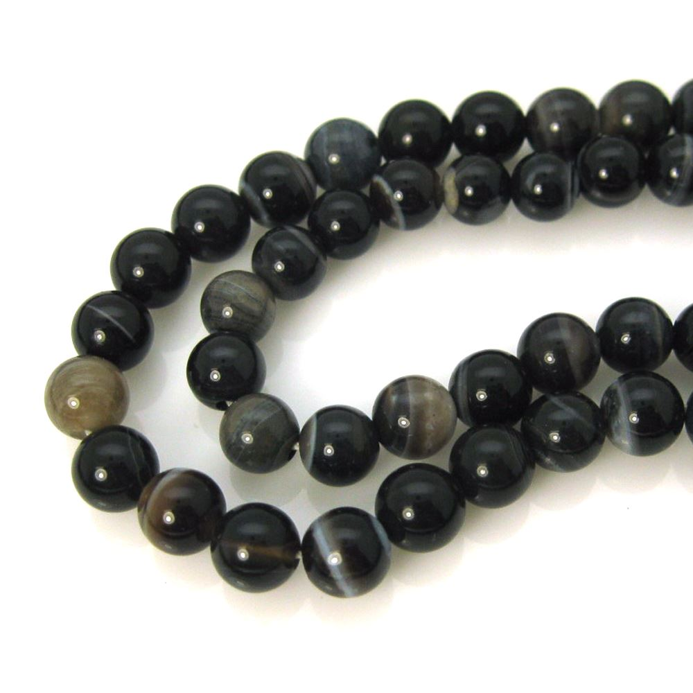 Brown Tibet Agate Beads - Smooth Round 6mm (Sold Per Strand)