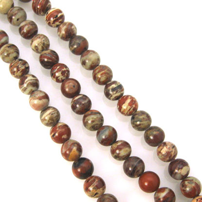 Brecciated Jasper - Natural Stone - Smooth Round Beads 6mm (Sold Per Strand)