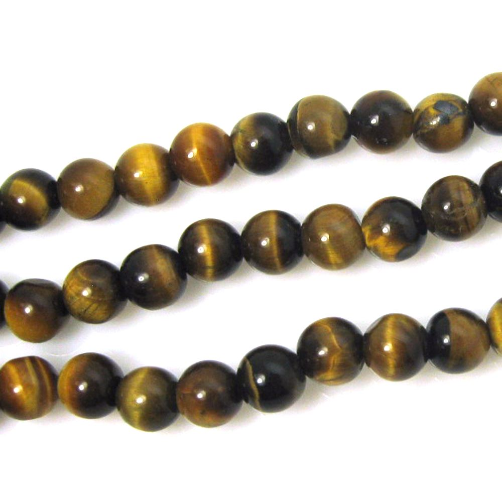 Tiger Eye - Natural Stone -Smooth Round 6mm (sold per strand)