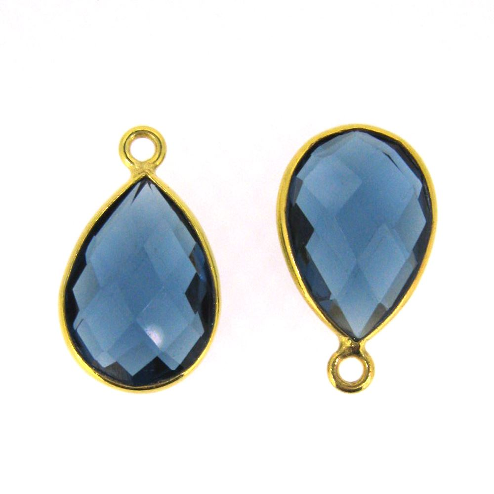 Bezel Gemstone Pendant - 10x14mm Faceted Small Teardop Shape - Blue Iolite Quartz  (Sold per 2 pieces)