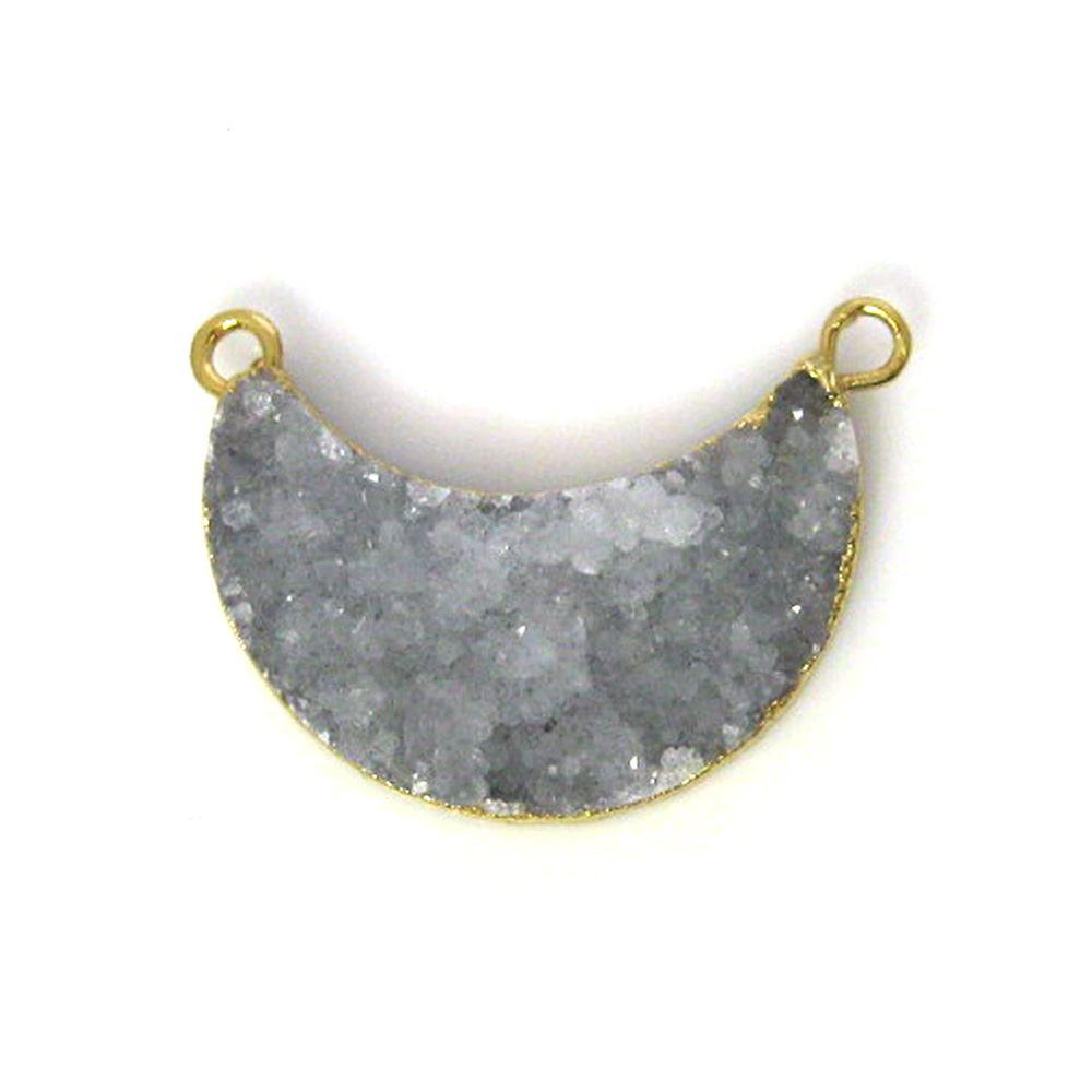 Natural Druzy Agate Crescent Bar Pendant, Light Grey Druzy Bar Connector, Half Moon Long Bar