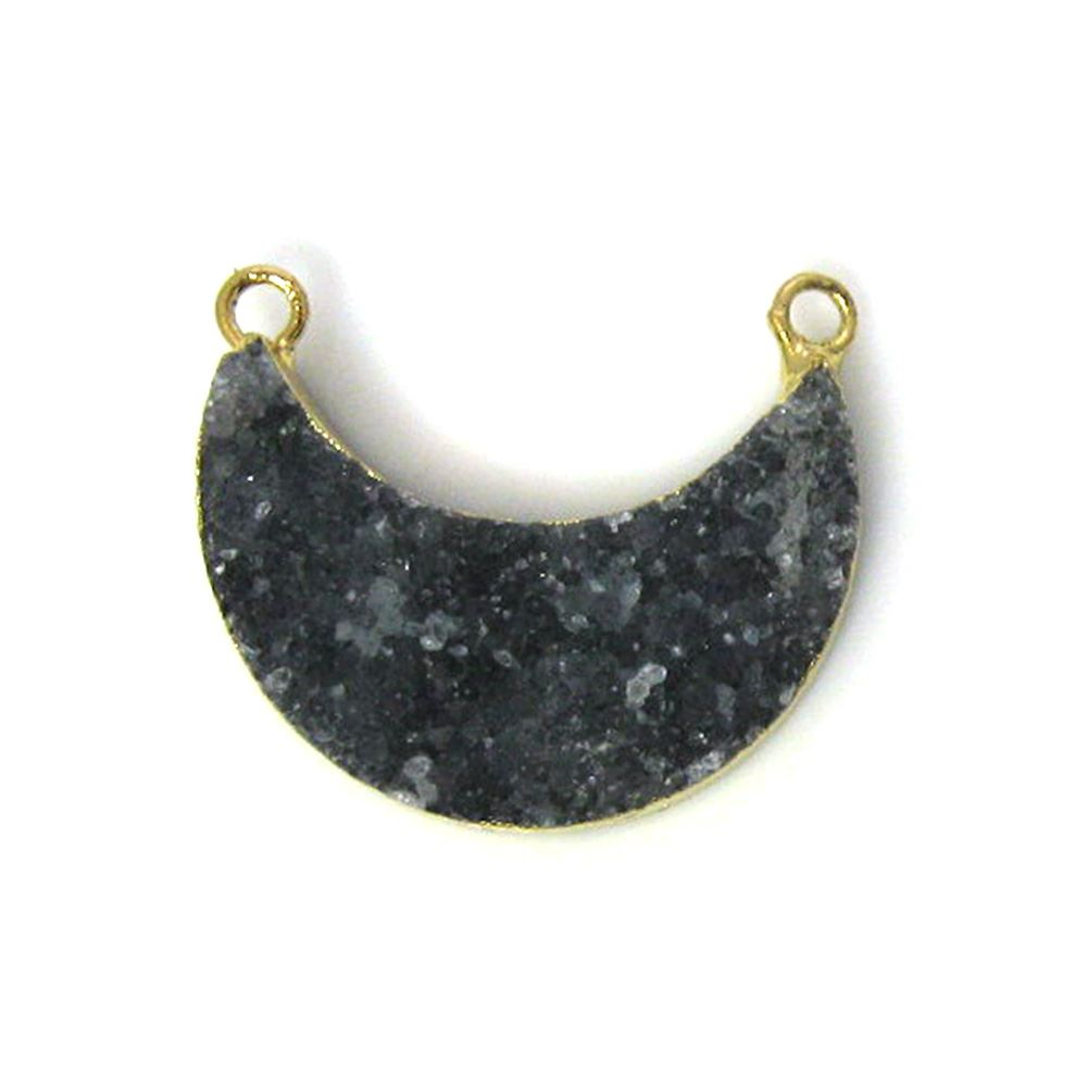 Natural Druzy Agate Crescent Bar Pendant, Dark Grey Druzy Bar Connector, Half Moon Long Bar
