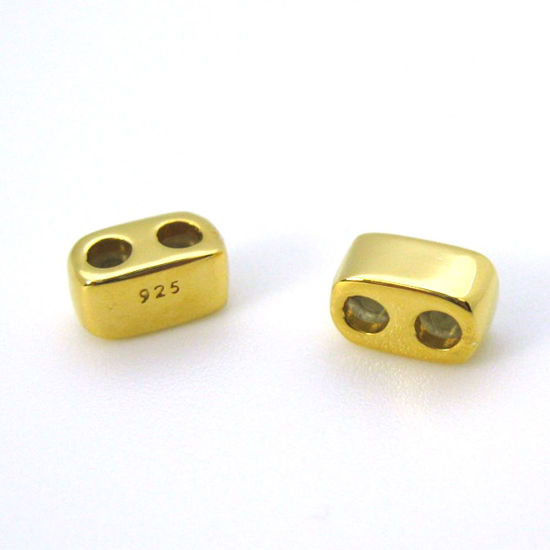 Gold Plated Sterling Silver Findings,Sliding Beads with Silicone-Double Hole Stopper Beads ( 1 piece)