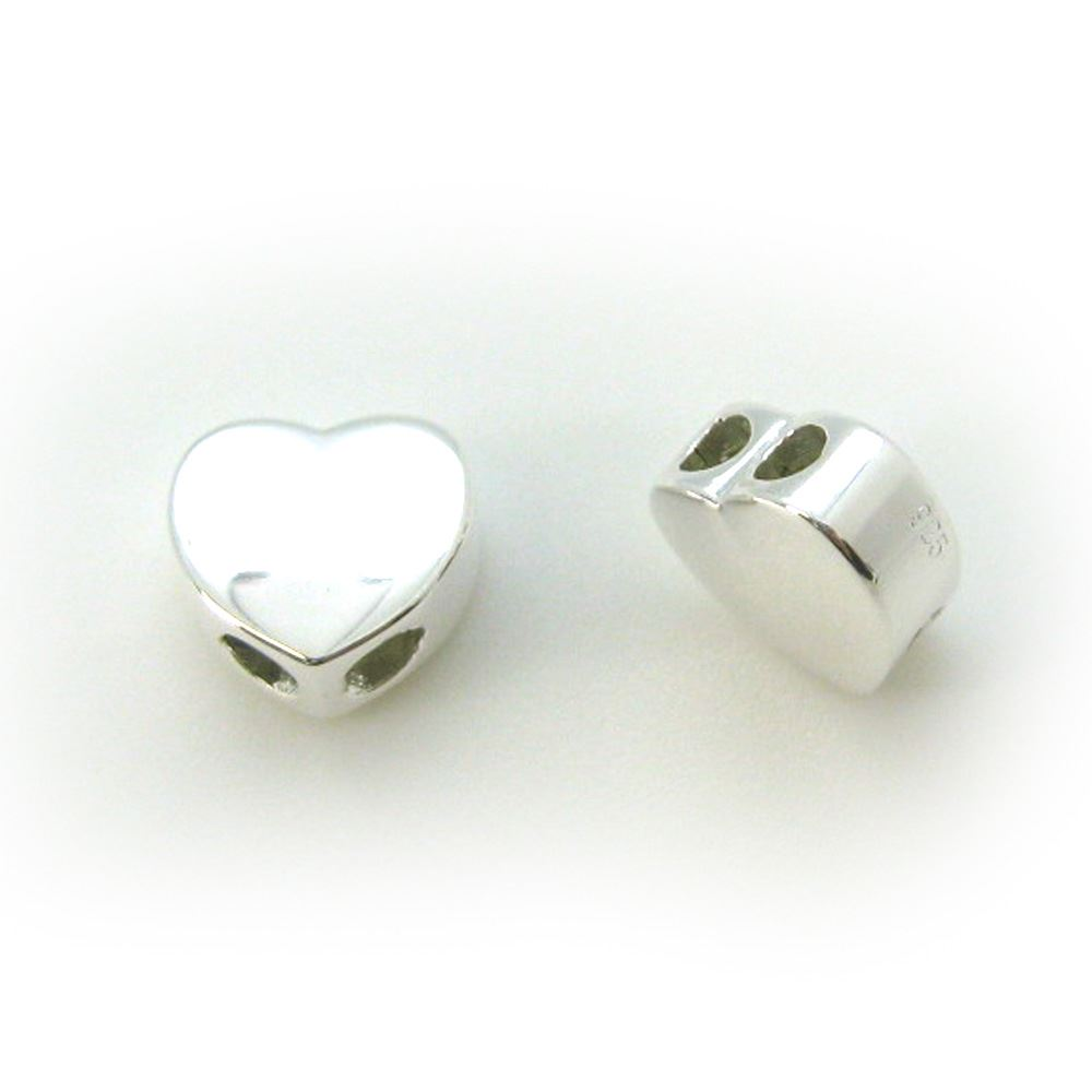 Sterling Silver Heart Shaped Sliding Beads with Silicone-Double Hole Stopper Beads (1 piece)
