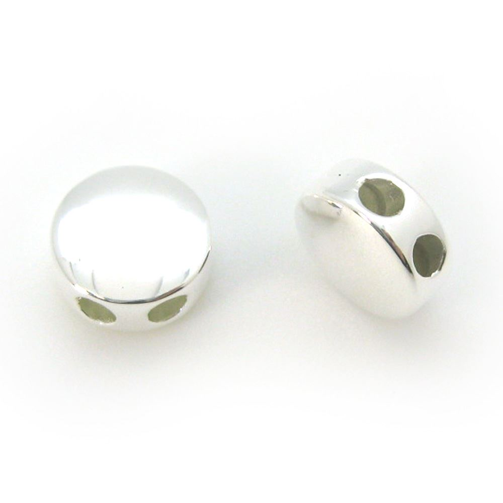 Sterling Silver Circle Shaped Sliding Beads with Silicone-Double Hole Stopper Beads (1 piece)