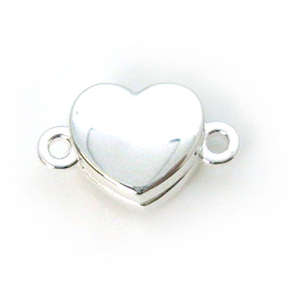 Sterling Silver Smooth Shiny Heart Clasp - Magnetic Clasp Toggle Set (Sold per 1 set)