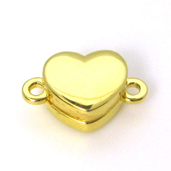Gold Plated Sterling Silver Smooth Shiny Heart Clasp - Magnetic Clasp Toggle Set (Sold per 1 set)