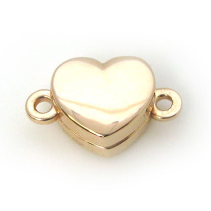 Rose Gold Plated Sterling Silver Smooth Shiny Heart Clasp - Magnetic Clasp Toggle Set (Sold per 1 set)