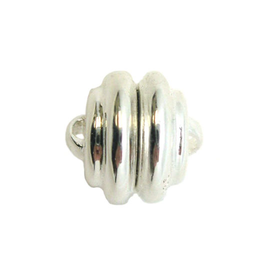 Sterling Silver Round Ribbed Clasp - Magnetic Clasp Toggle Set (Sold per 1 set)