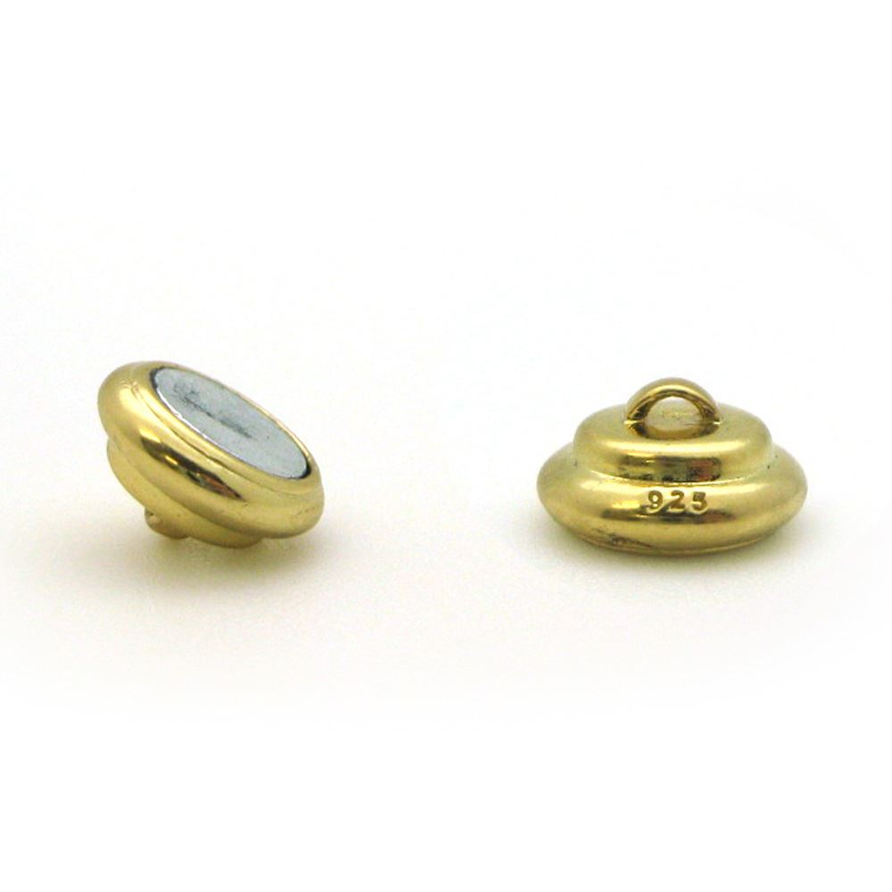 Gold Plated Sterling Silver Round Ribbed Clasp - Magnetic Clasp Toggle Set (Sold per 1 set)