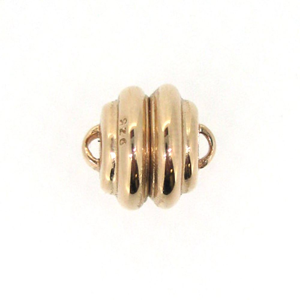 Rose Gold Plated Sterling Silver Round Ribbed Clasp - Magnetic Clasp Toggle Set (Sold per 1 set)