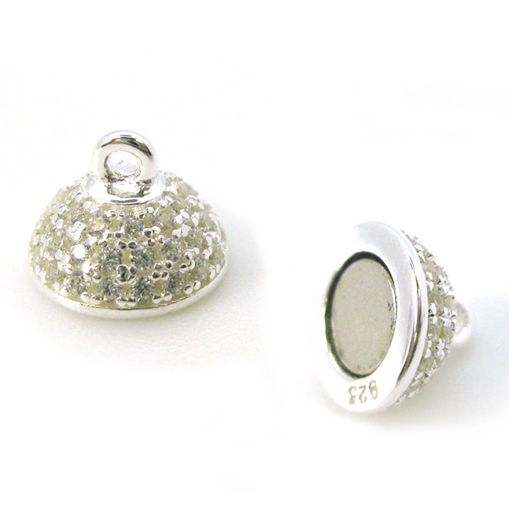 Sterling Silver Round Pave Clasp - Magnetic Clasp (Sold per piece)