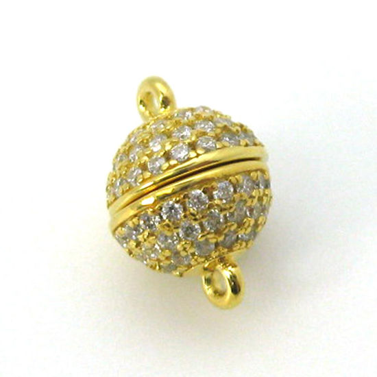 Gold Plated Sterling Silver Round Pave Clasp - Magnetic Clasp (Sold per piece)