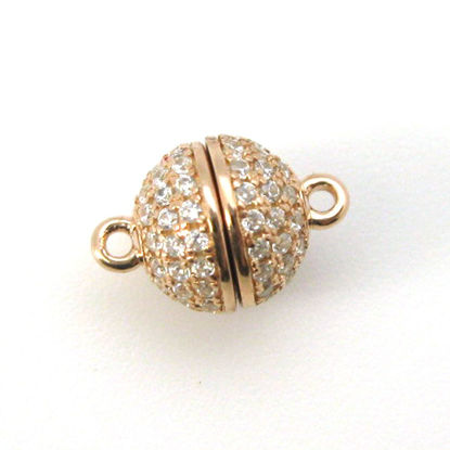 Rose Gold Plated Sterling Silver Round Pave Clasp - Magnetic Clasp (Sold per piece)