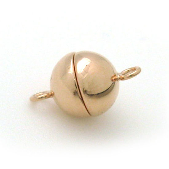 Rose Gold Plated Sterling Silver Magnetic Clasp, 8mm Ball Toggle Clasp ( Sold per 1 set)