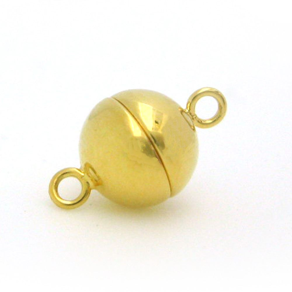 Gold Plated Sterling Silver Magnetic Clasp, 10mm Ball Toggle Clasp ( Sold per 1 set)