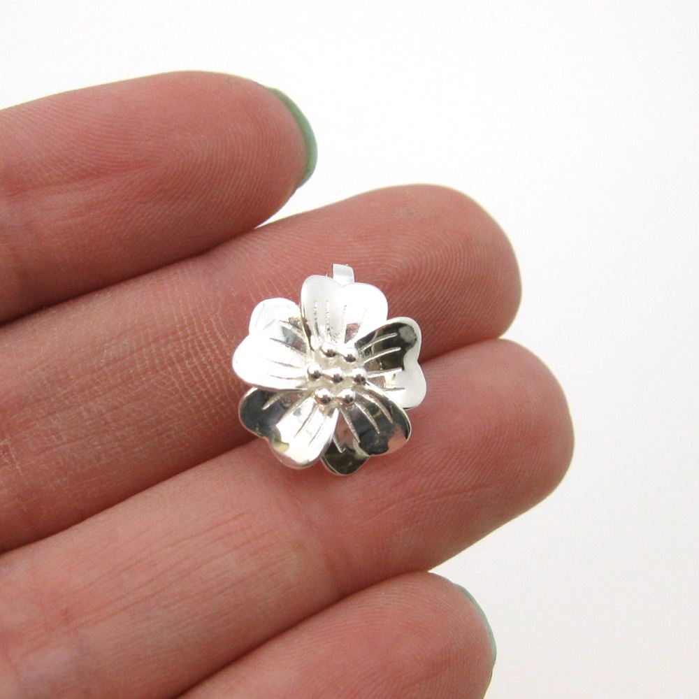 Sterling Silver Flower Clasp - Magnetic Clasp Toggle Set (Sold per 1 set)