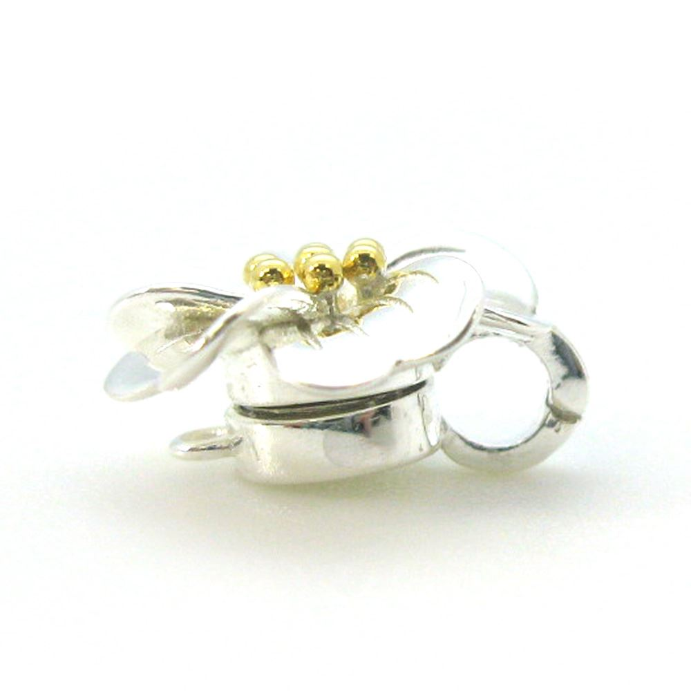 Sterling Silver Flower Clasp with Gold Plated Middle- Magnetic Clasp Toggle Set (Sold per 1 set)
