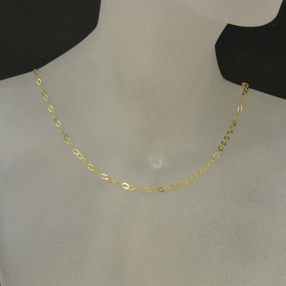 Gold Plated Sterling Silver Necklace - 925 Italian Sterling Silver Chain - 3.5 x 3mm Light Flat Cable Necklace Chain - All Sizes
