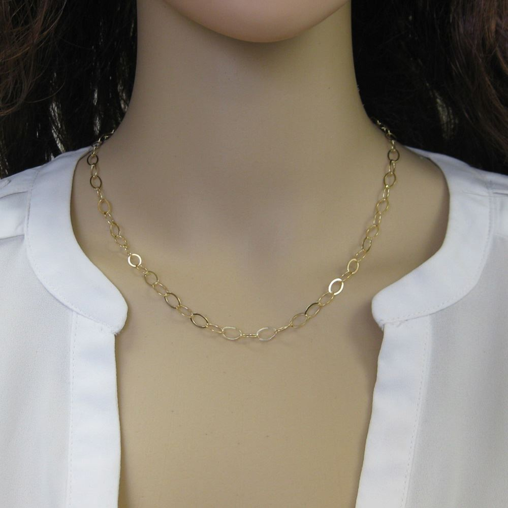 Gold Plated 925 Italian Sterling Silver Necklace- Bracelet Chain - Anklet Chain - Flat Cable Oval Chain- Long Necklace - All Sizes