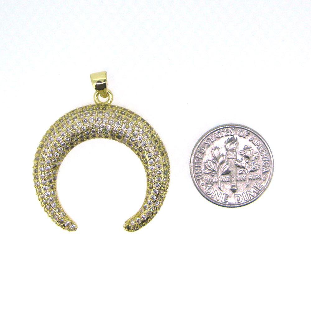 Sterling Silver Pave Double Horn Pendant - Zircon Pave Pendant