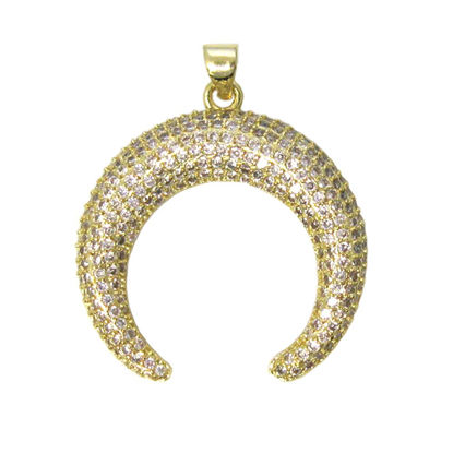 Gold Plated Sterling Silver Pave Double Horn Pendant - Zircon Pave Pendant