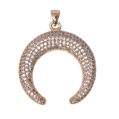 Rose Gold Plated Sterling Silver Pave Double Horn Pendant - Zircon Pave Pendant