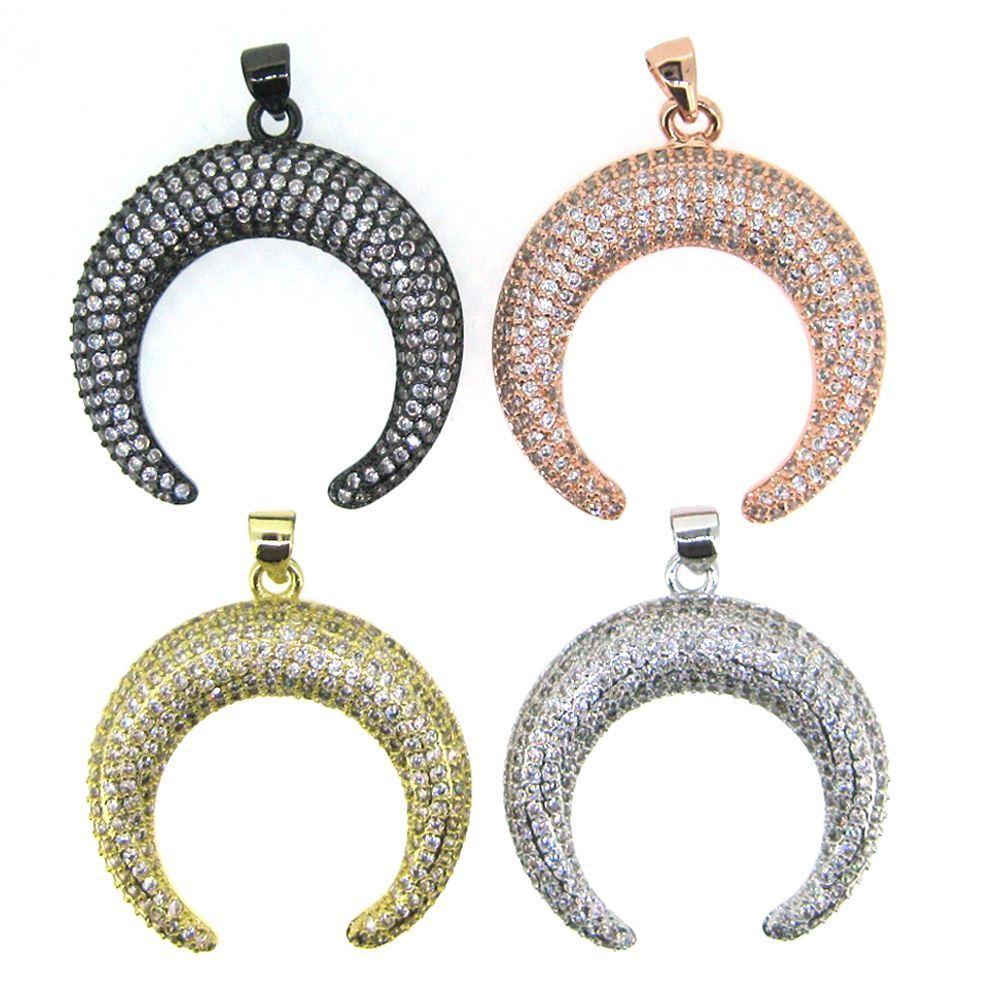 Black Sterling Silver Pave Double Horn Pendant - Zircon Pave Pendant