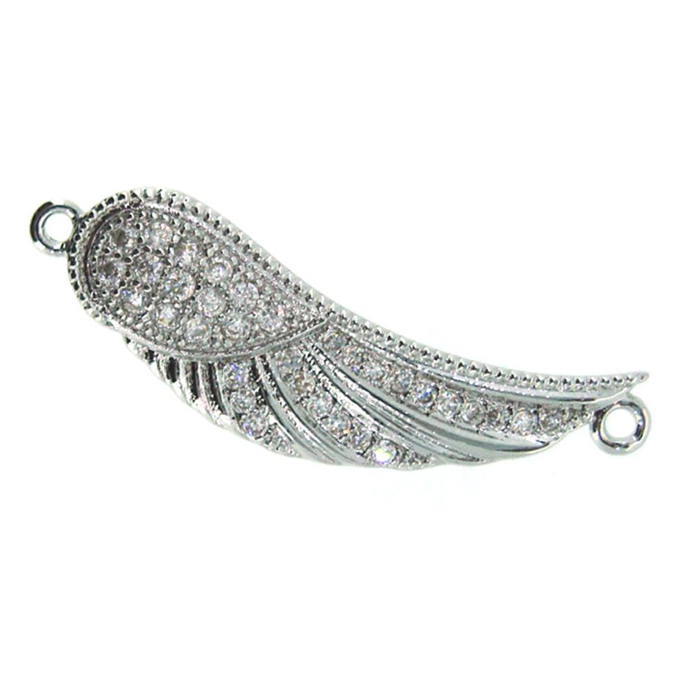 Sterling Silver Pave Wing Connector Pendant - Small Zircon Pave Wing