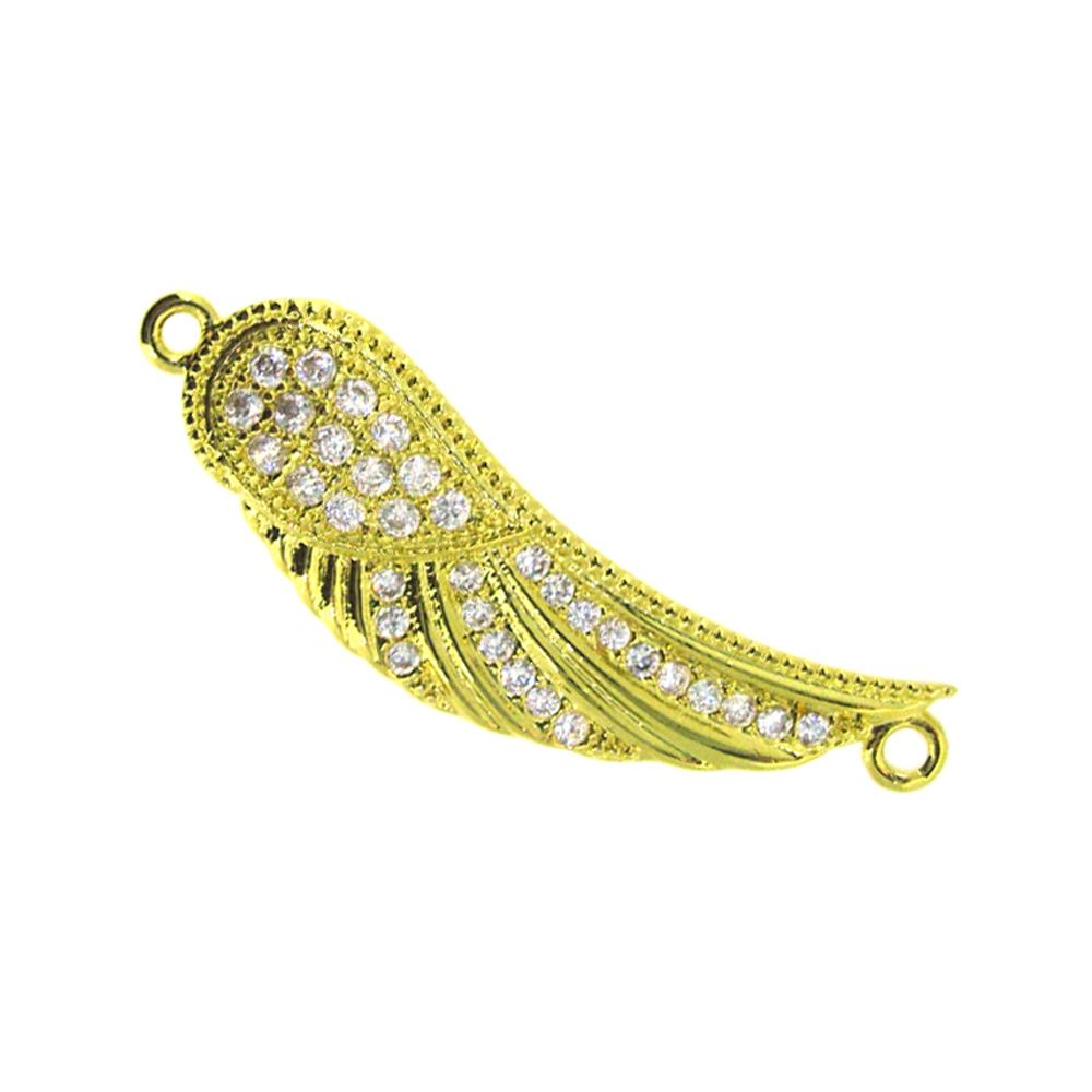 Gold Plated Sterling Silver Pave Wing Connector Pendant - Small Zircon Pave Wing