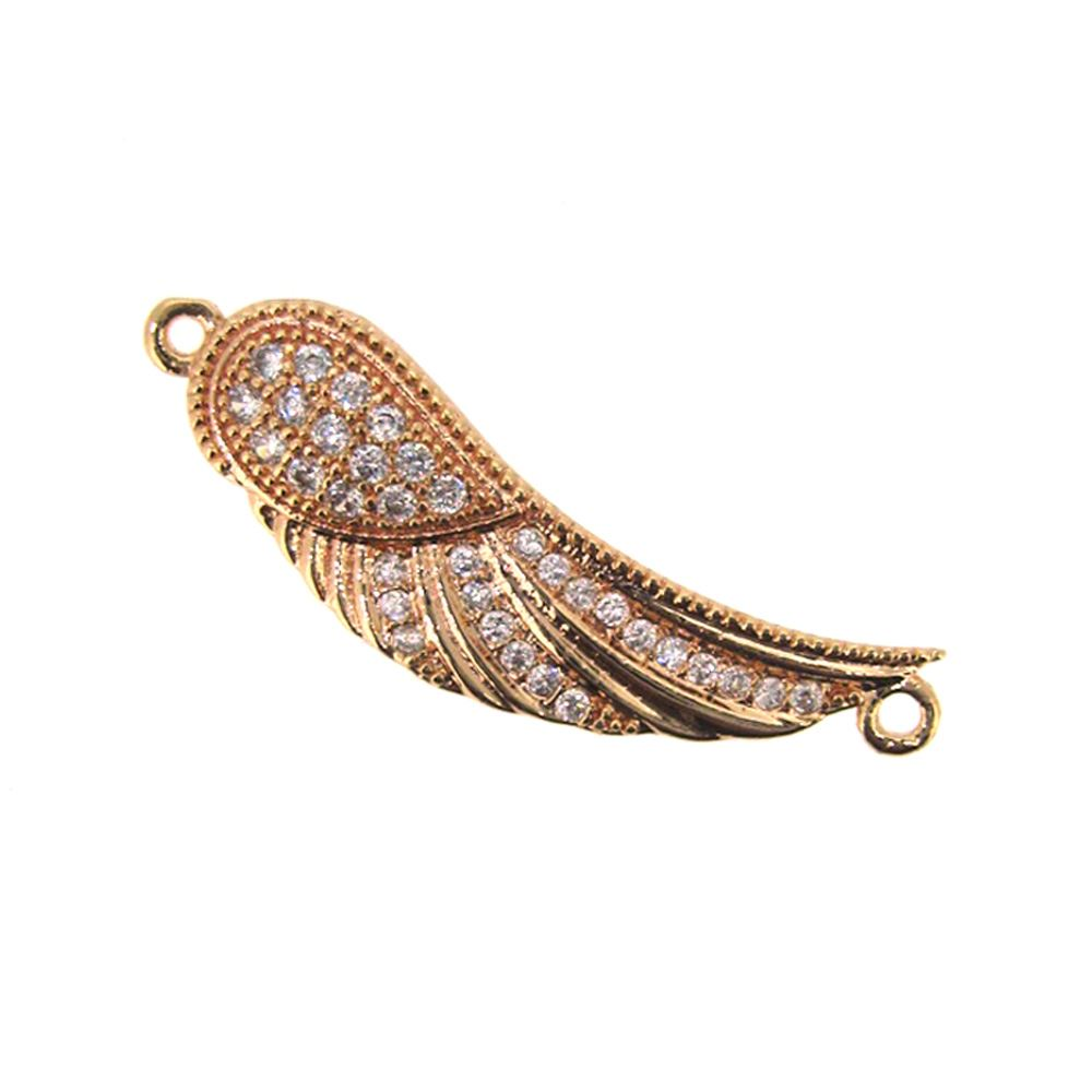 Rose Gold Plated Sterling Silver Pave Wing Connector Pendant - Small Zircon Pave Wing