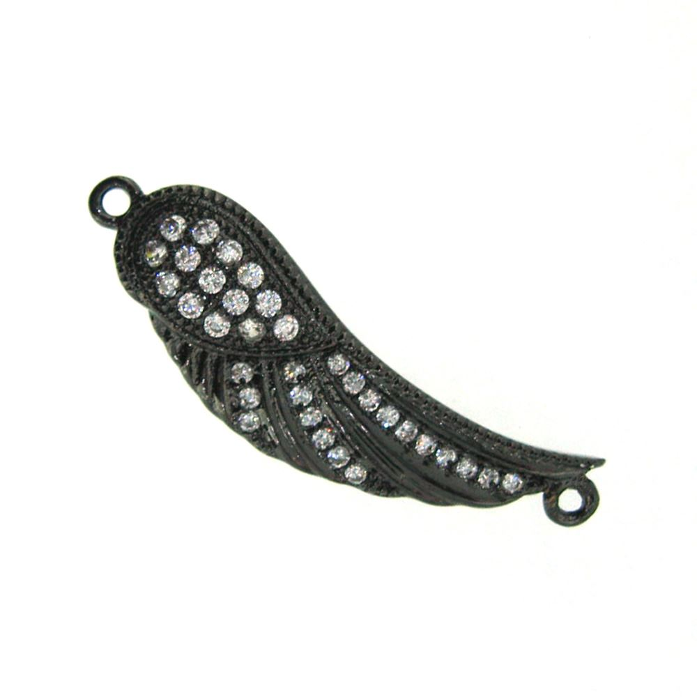 Black Sterling Silver Pave Wing Connector Pendant - Small Zircon Pave Wing