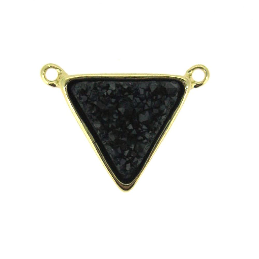 Gold Plated Black Agate Titanium Triangle Druzy Connector