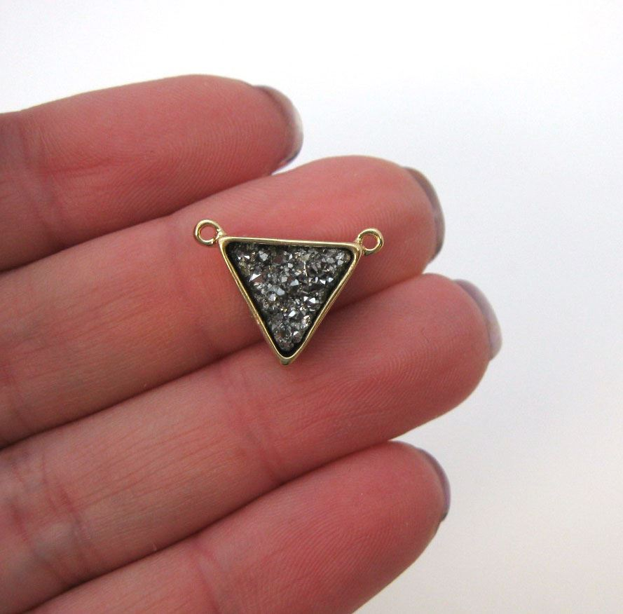 Gold Plated Gold Agate Titanium Triangle Druzy Connector
