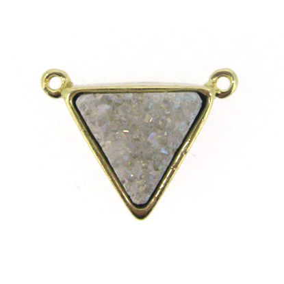 Gold Plated White Agate Titanium Triangle Druzy Connector