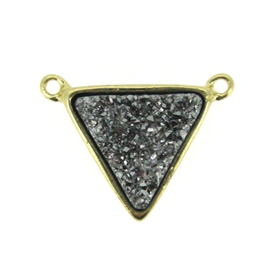 Gold Plated Silver Agate Titanium Triangle Druzy Connector