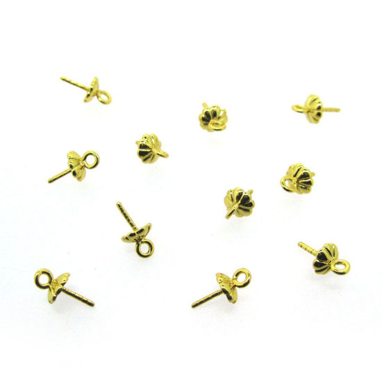 Gold Plated 925 Sterling Silver Peg Bail Caps for Half Drilled Pearls and Beads - Fancy Top (10 pcs)