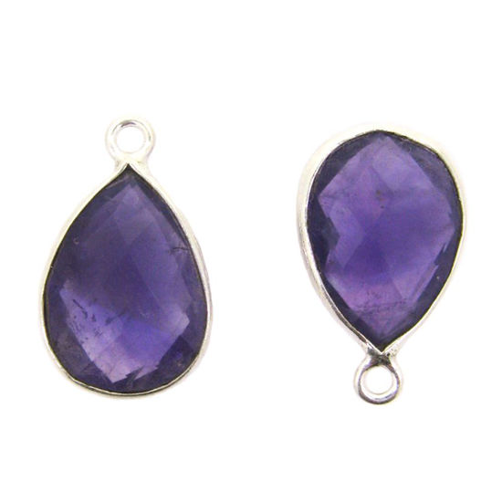 Bezel Gemstone Pendant - Sterling Silver Gem- 10x14mm Faceted Small Teardop Shape - Natural Amethyst Quartz (sold per 2 pieces)