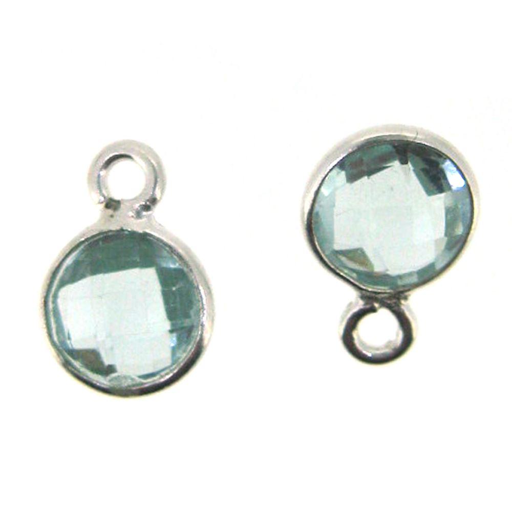 Bezel Gem Pendant-Sterling Silver-7mm Tiny Circle Shape- Aqua Quartz (sold per 2 pieces)