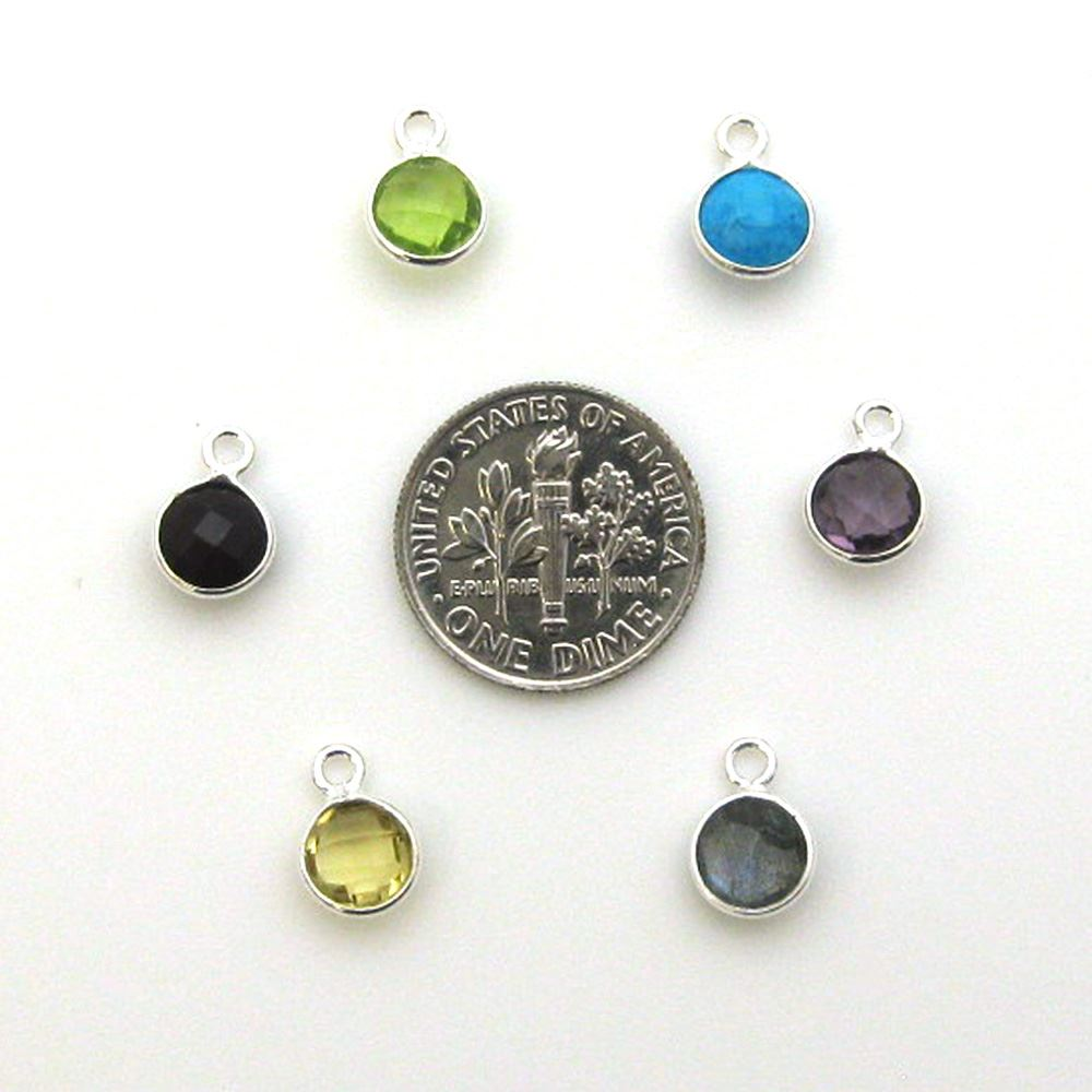 Bezel Gem Pendant-Sterling Silver-7mm Tiny Circle Shape- Crystal Quartz (sold per 2 pieces)