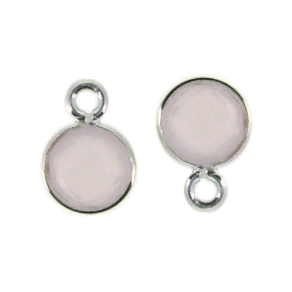 Bezel Gem Pendant-Sterling Silver-7mm Tiny Circle Shape- Pink Chalcedony (sold per 2 pieces)