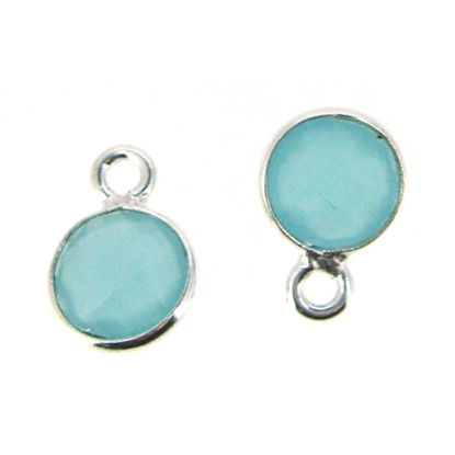 Bezel Gem Pendant-Sterling Silver-7mm Tiny Circle Shape- Peru Chalcedony (sold per 2 pieces)