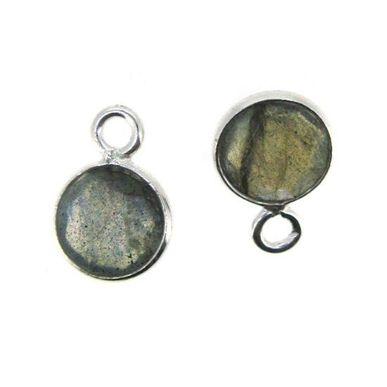 Bezel Gem Pendant-Sterling Silver-7mm Tiny Circle Shape- Labradorite (sold per 2 pieces)