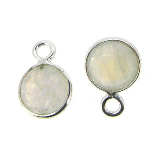 Bezel Gem Pendant-Sterling Silver-7mm Tiny Circle Shape- Moonstone (sold per 2 pieces)