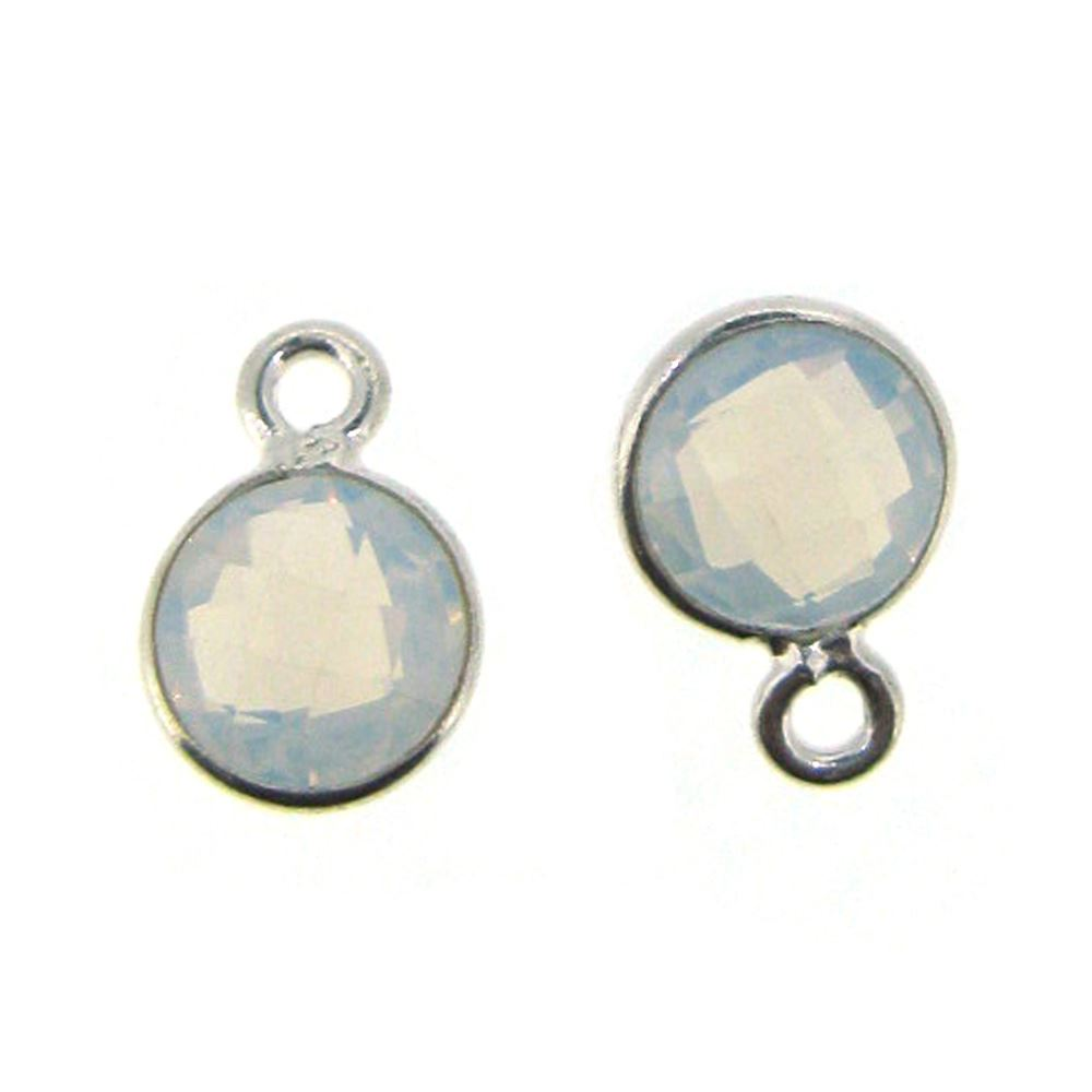 Bezel Gem Pendant-Sterling Silver-7mm Tiny Circle Shape- Opalite (sold per 2 pieces)