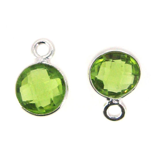 Bezel Gem Pendant-Sterling Silver-7mm Tiny Circle Shape - Peridot (sold per 2 pieces)